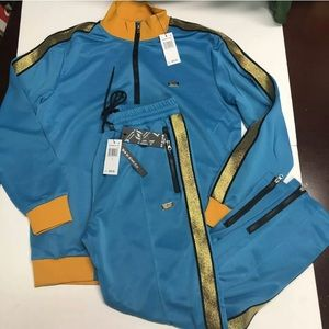 Reason clothing blue gold striped tracksuit